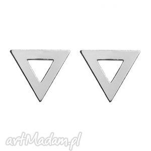 srebrne kolczyki trójkąty - minimalistyczne geometryczne, srebro