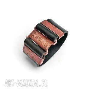 męska solidna bransoleta z miedzi i skórzanego pasa, miedziana