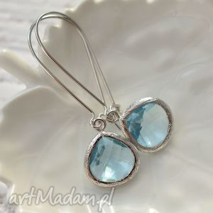 blue unique glass, długie, wiszące, kryształ, szkło, romantyczne