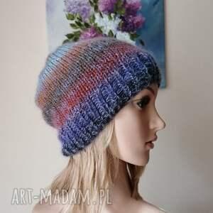 czapki milutka, miękka, puszysta we mgle, rękodzieło, bezszwowa czapka na druta