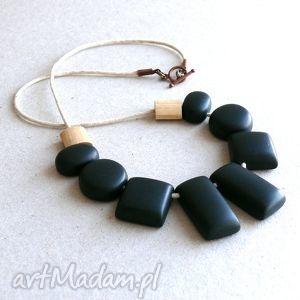 geometryczny naszyjnik z polymer clay - naszyjniki, korale, czarny, geometryczne, len