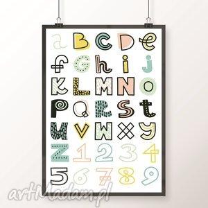plakat pastelowy alfabet a3 - alfabet, litery, cyfry, skandynawski, pastelowy
