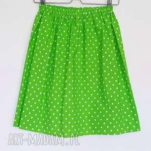 Promocja zielona spódniczka w białe kropki dł max 53cm spodnie