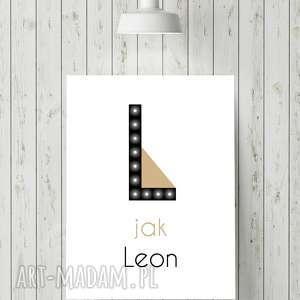 hand-made pokoik dziecka świecąca litera l z imieniem prezent lampka obraz dla dziecka
