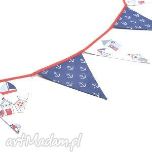handmade dla dziecka girlanda proporczyki chorągiewki 160 cm kotwice / domki nadmorskie