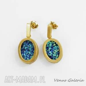 kolczyki srebrne - druza gold blue-aquamarine