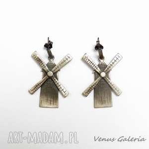 Wiatraki duże - kolczyki srebrne venus galeria srebro, biżuteria