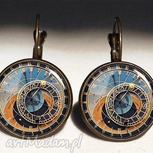 zegar praski - duże kolczyki wiszące, prezent, stary