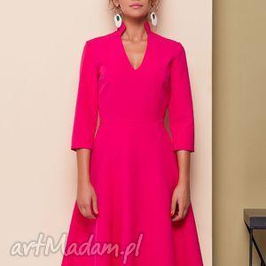 sukienki sukienka z oryginalnym dekoltem, sukienka, sukienki, elegancka