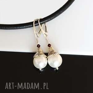Perły Seashell - kolczyki, perły, seashell, swarovski, srebro, kolczyki