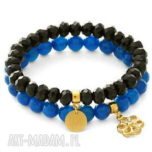 dark blue agate & black crystals with pendants - kwiatek, moneta