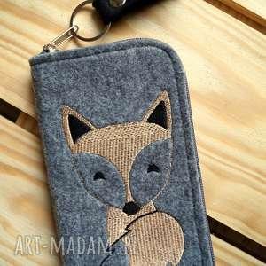 filcowe etui na telefon - lisek, smartfon, pokrowiec, haft, fox, koraliki