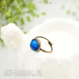 Prezent BLUE RAW - PIERŚCIONEK ZE SZKŁEM FUSINGOWYM, pierścionek-duży