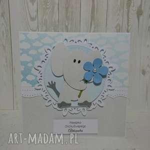 Zaproszenie / kartka z głową w chmurach, chrzest, urodziny, narodziny, pamiątka