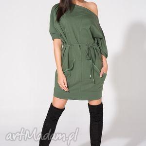 Sukienka 2w1 z paskiem, T155, zielona, sukienka, dzianina, bawełna, luźna, pasek