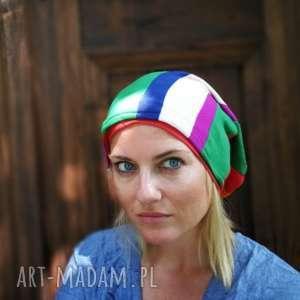 ręcznie zrobione czapki czapka kolorowa patchworkowa duza smerfetka