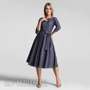 sukienki sukienka marie 3/4 midi granat melanż złota nitka