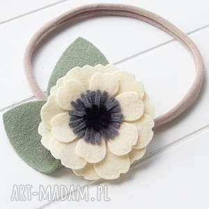ozdoby do włosów opaska kwiat anemon jasny żółty, filc, dziewczynki