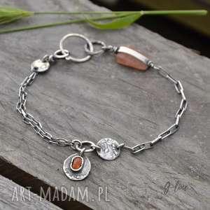 srebrna bransoletka z kamieniem słonecznym, srebro, kamień słoneczny, surowa