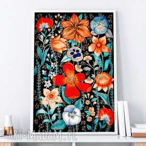 kwiaty a1, grafika, plakat, obraz, kwiaty, sztuka, kwiat
