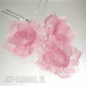 hand-made ozdoby do włosów w kolorze różu