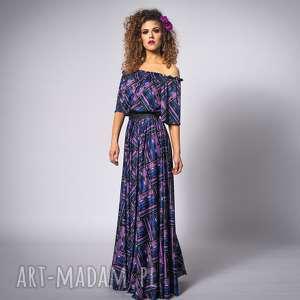 Vanessa - violet mix, długa, krata, elastyczna