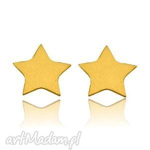 złote kolczyki gwiazdki, delikatne, sztyfty