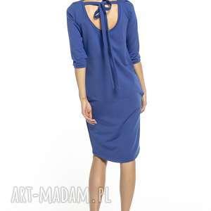 elegancka sukienka tuba wiązana z dekoltem na plecach, t298, chabrowy