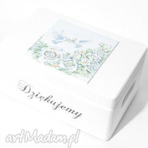 Ślubne pudełko na koperty kopertówka uniwersalne obrączki napis