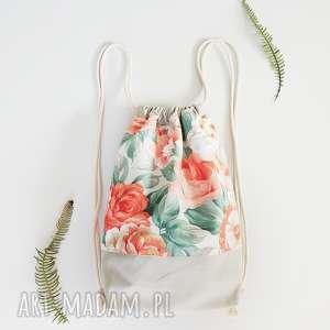 plecak worek kwiaty - ,plecak,worek,vintage,kwiaty,łąka,torebka,