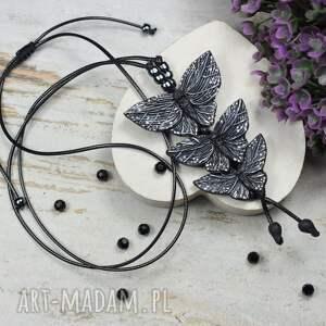 wisiorki czarne motyle - długi wisiorek, regulowany, wisiorek motyle