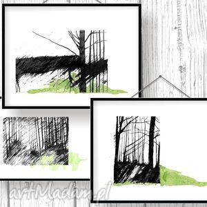 w lesie tryptyk poetycki, tryptyk, ilustracje, a4, pejzaż, las, drzewa