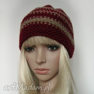 beż i burgund - pasiasta czapeczka - czapka, paski, ciepła, mała, jesienna