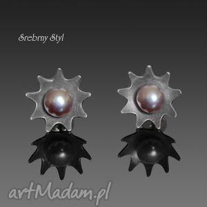 srebrny-styl perłowe słoneczka - satynowane, oksydowane, perły