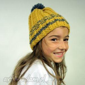 czapka hand made no 004, zółty, szary, beanie, krasnal, ciepła, zima dla dziecka