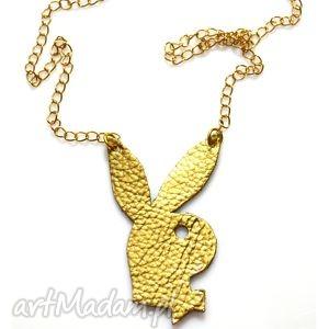 Naszyjnik Be My Bunny, skórzany, naszyjnik, złoty, króliczek, łańcuszek, modny