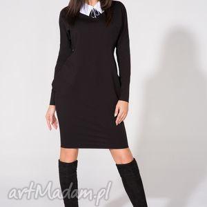 sukienka 2w1 z kołnierzykiem w komplecie, t142, czarna, sukienka, dzianina, bawełna