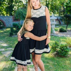 ręcznie zrobione sukienki komplet sukienek bella black- dla mamy i córki