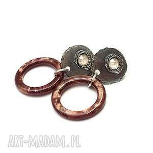 Ring chocolate - kolczyki katia i krokodyl srebro, oksydowane