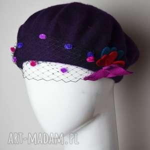 święta, czapki fioletowy beret, fioletowy, wełna, woalka