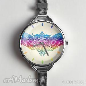 tęczowa sowa - zegarek z dużą taczką 0871ws - zegarek, tęczowy, sowa