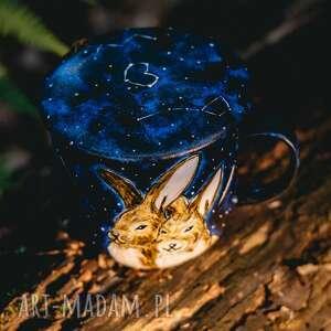kubki kubek malowany z zaparzaczem - zakochane zające, malowany, wyjątkowy