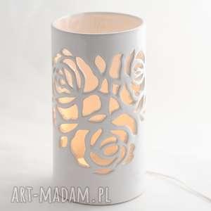 Lampa ceramiczna róża led reniflora led, ceramika artystyczna