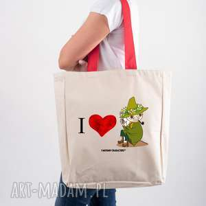 Licencjonowana torba XXL Muminki z czerwonym uchem I LOVE WŁÓCZYKIJ, dla-niej