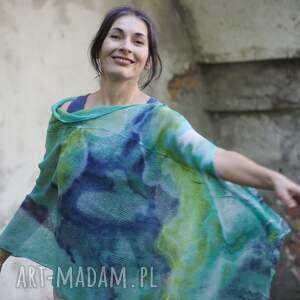 hand-made tuniki ponczo lniane w odcieniach turkusu i zieleni