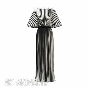 fulki - sukienka w pasy, plisowana sukienka, maxi dress, piekna