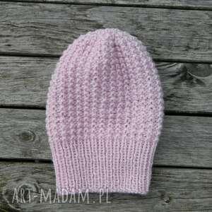 czapki 100 wool zimowa czapka z czystej wełny pastelowy róż, pastelowa