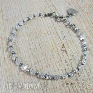 diament herkimer - delikatna bransoletka 394 ii, kwarc, diament, srebro