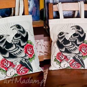 hand-made ręcznie malowana torba z krukami