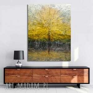 obraz na płótnie drzewo pełni 60x80, drzewo, z drzewem, złoty